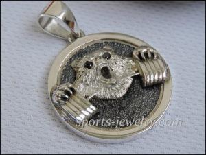 Powerlifting gift Silver bear pendant