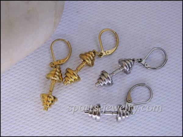 Dumbbell earrings Fitness jewelry