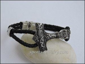 Bracelets stainless steel leather Thor's hammer buy