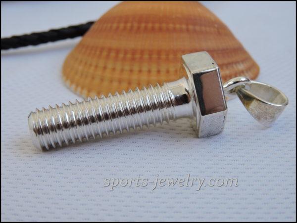 Chain Silver bolt, screw, pin pendant