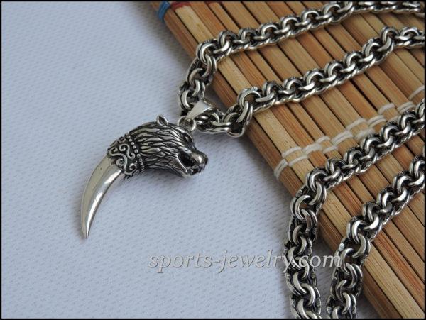 Chain Silver wolf pendant