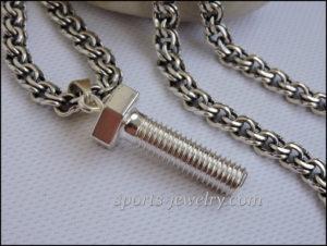 Gift to locksmith Silver bolt, screw, pin pendant