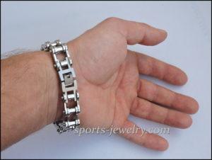 Motorcycle chain bracelet wide