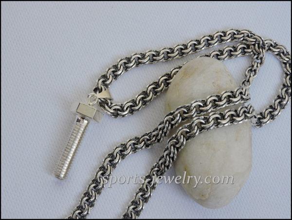 Silver bolt, screw, pin pendant Gift to locksmith