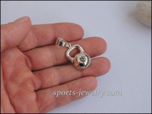 Silver kettlebell pendant Sport jewelry