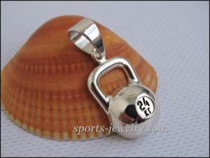 Silver kettlebell pendant Sports gift