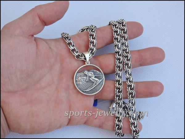Ski necklace Sports jewelry