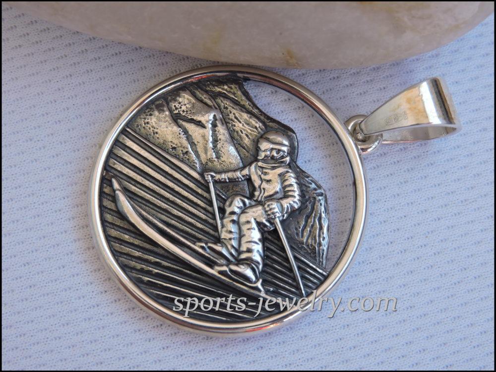 Ski pendant Silver