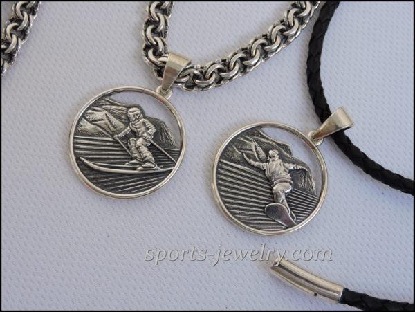 Snowboard necklace jewelry Skier jewelry