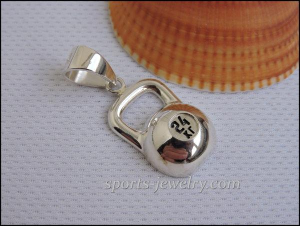 Sport jewelry Silver kettlebell pendant