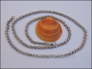 Stainless steel round braided necklace men women