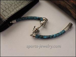 Python leather bracelet Sport pendants
