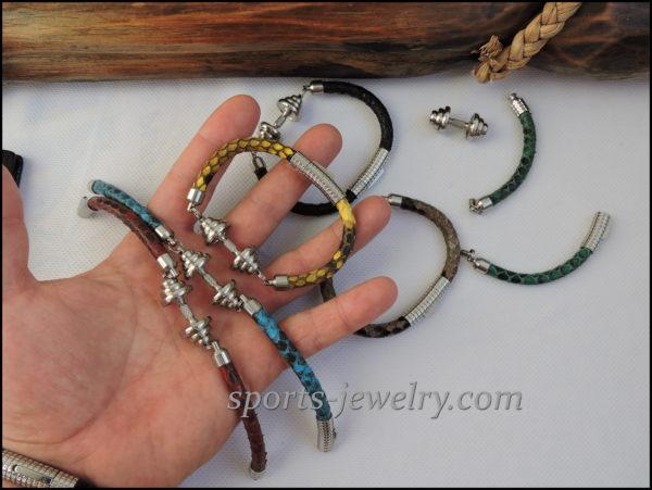 Sport jewelry Snake leather bracelet