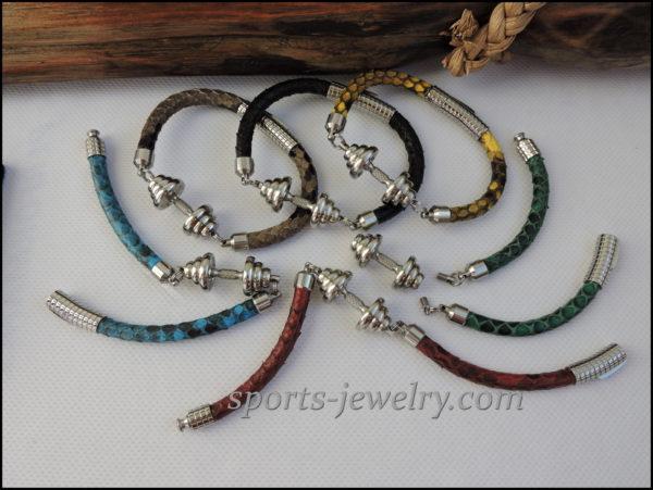 Stainless steel dumbbell pendant Snake leather bracelet