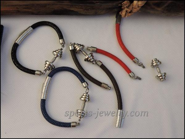 Stingray leather bracelet Stainless steel dumbbell pendant