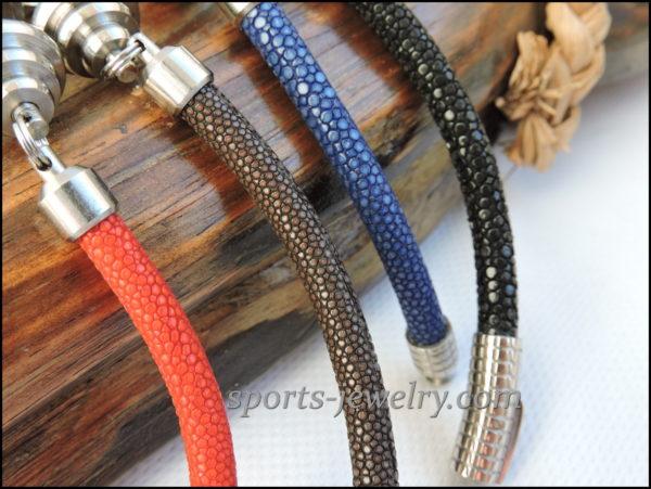 Stingray leather bracelet buy Stainless steel dumbbell pendant