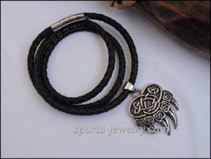 Bear paw pendant Leather cord