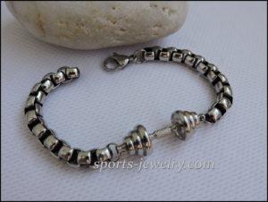 Gifts for sporty girls Dumbbell bracelet Silver
