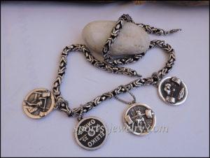 Sport jewelry Pit bull dumbbell pendant
