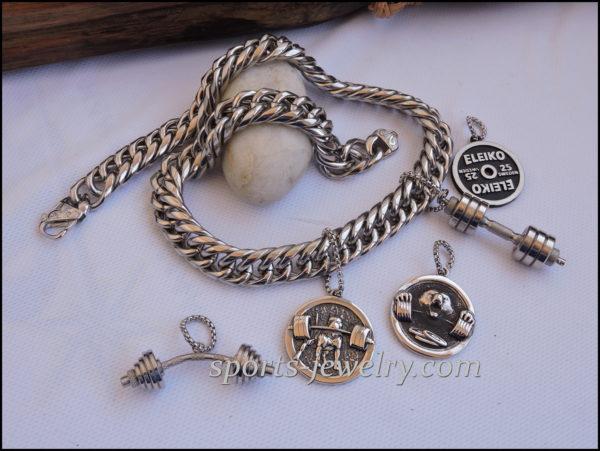 Sport jewelry Pitbull dumbbell pendant