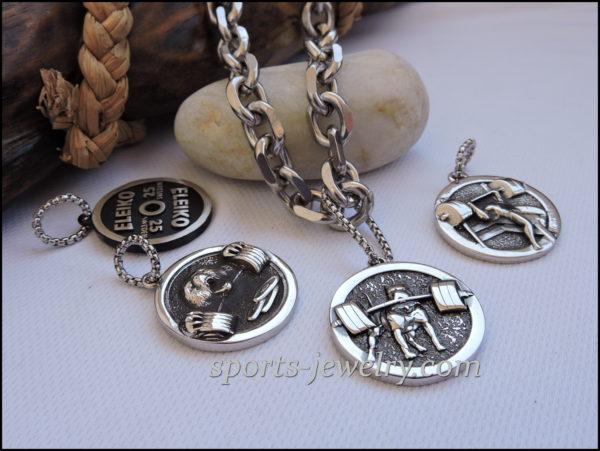 Sport jewelry dumbbell Pitbull pendant Stainless steel chain