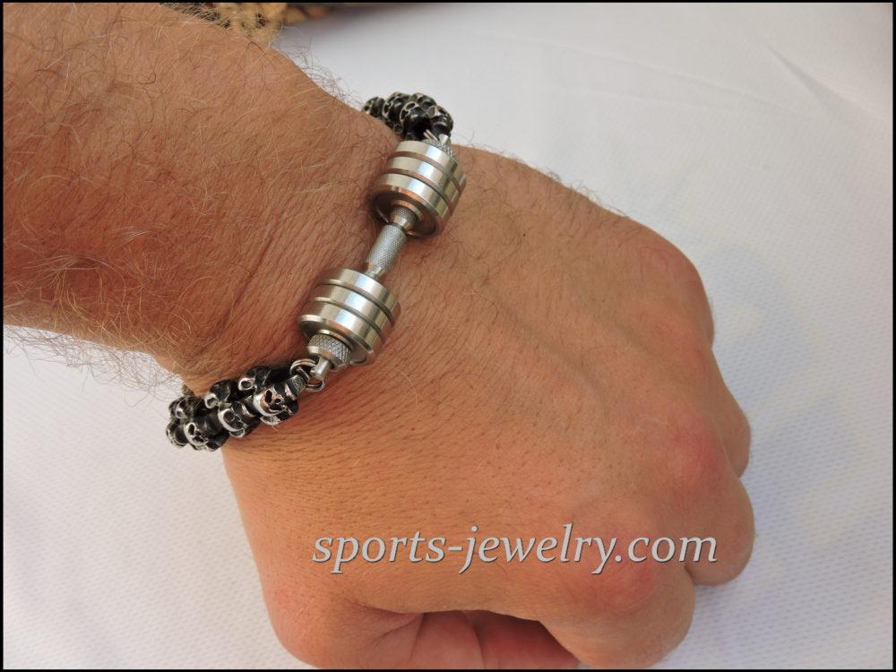 Skull dumbbell bracelet Sport jewelry
