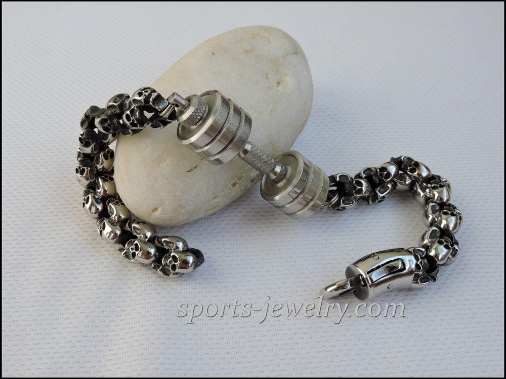 Skull dumbbell bracelet buy