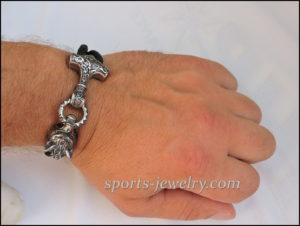 Stainless steel leather Thor's hammer bracelet