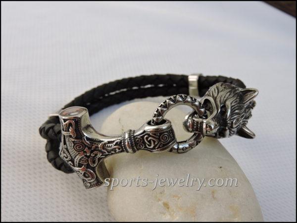 Thor's hammer bracelet Stainless steel leather buy