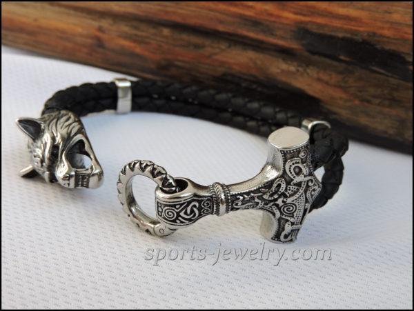 Thor's hammer bracelet leather Stainless steel