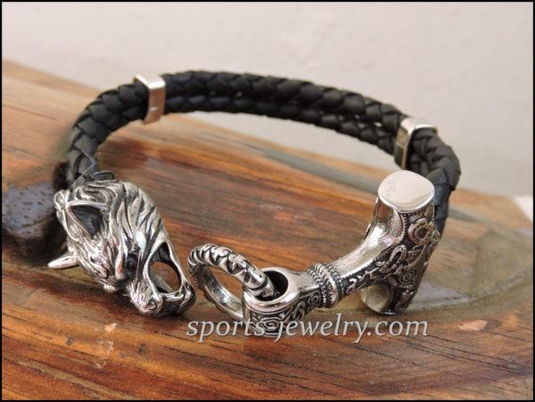 leather Stainless steel Thor's hammer bracelet