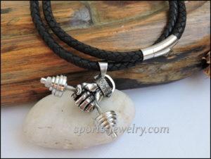 Dumbbell hand pendant