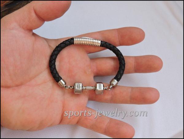 Fitness gift bracelet leather stainless steel
