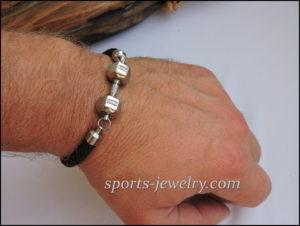 Fitness motivation Bracelet leather stainless steel 01