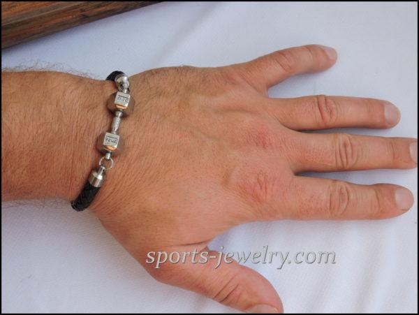 Fitness motivation Bracelet leather stainless steel 02