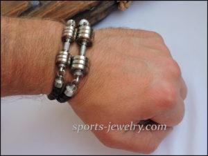 Sport bracelet leather stainless steel Fitness gift 02