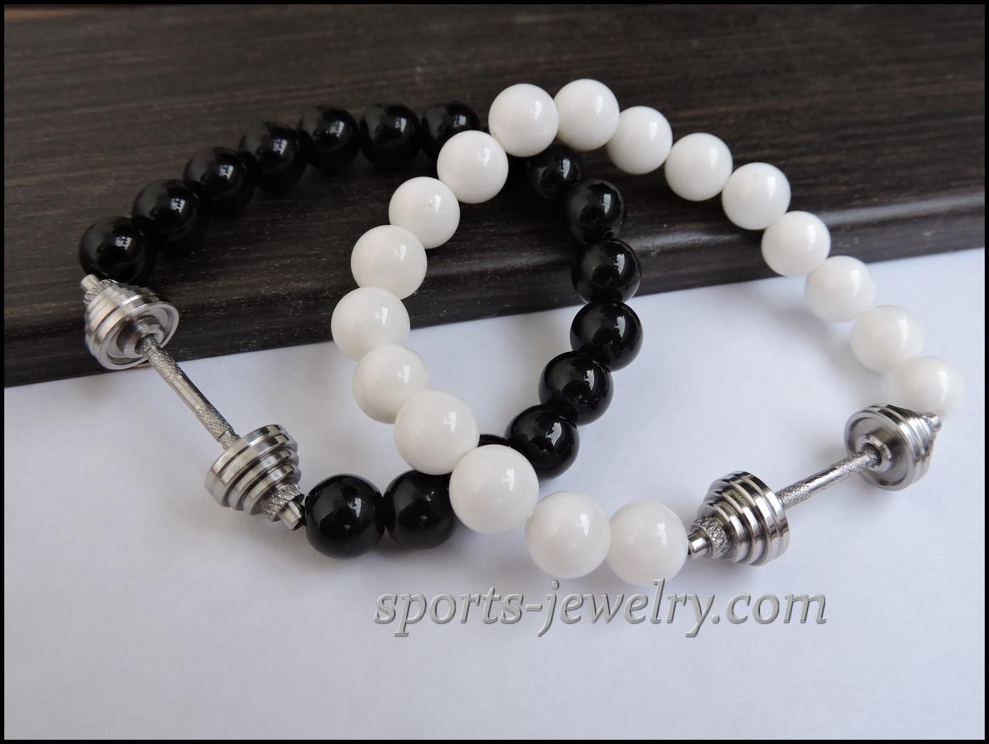 Barbell Bracelet Black Agate